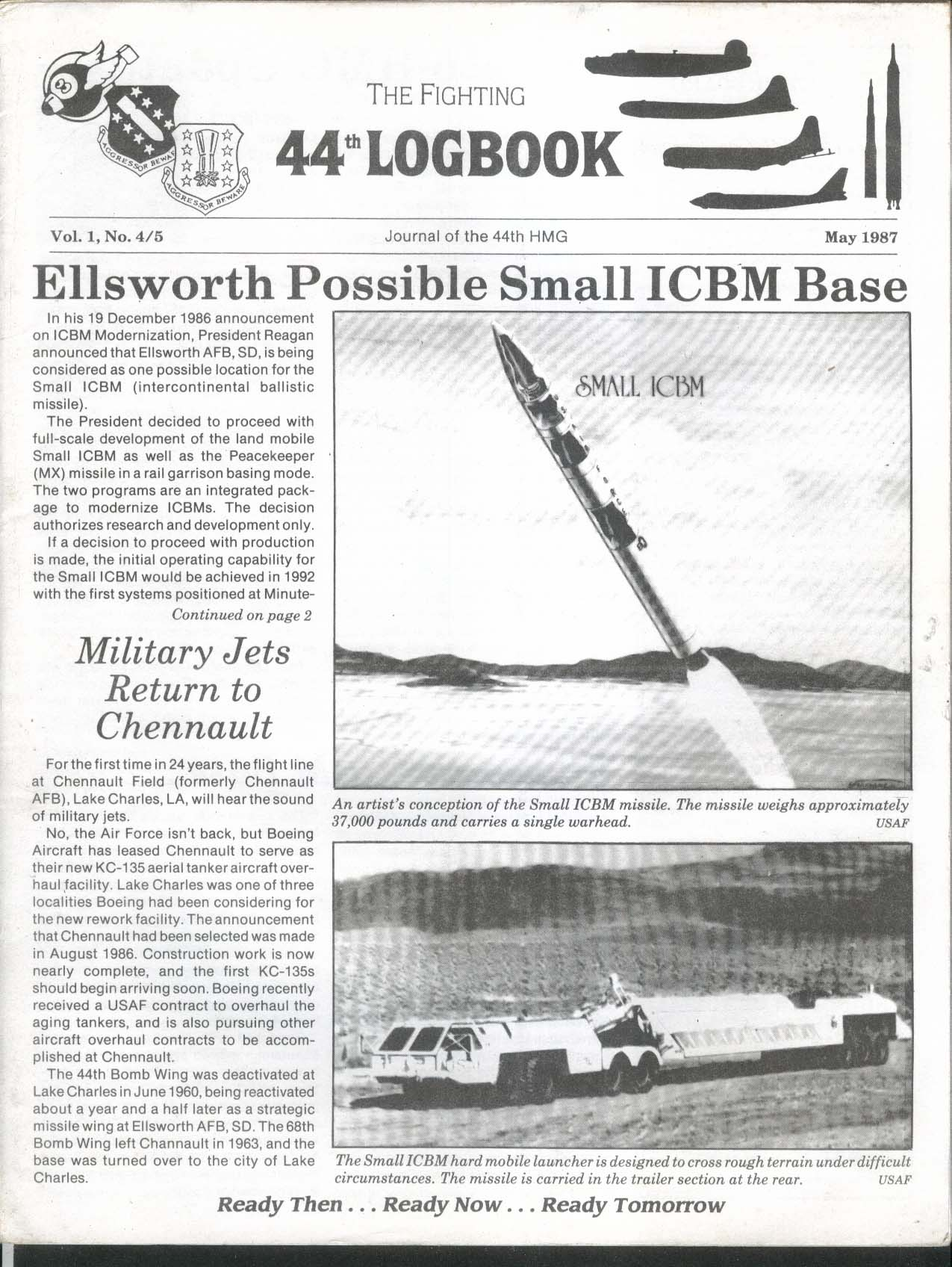 Fighting 44th Logbook Ellsworth Small ICBM 5 1987