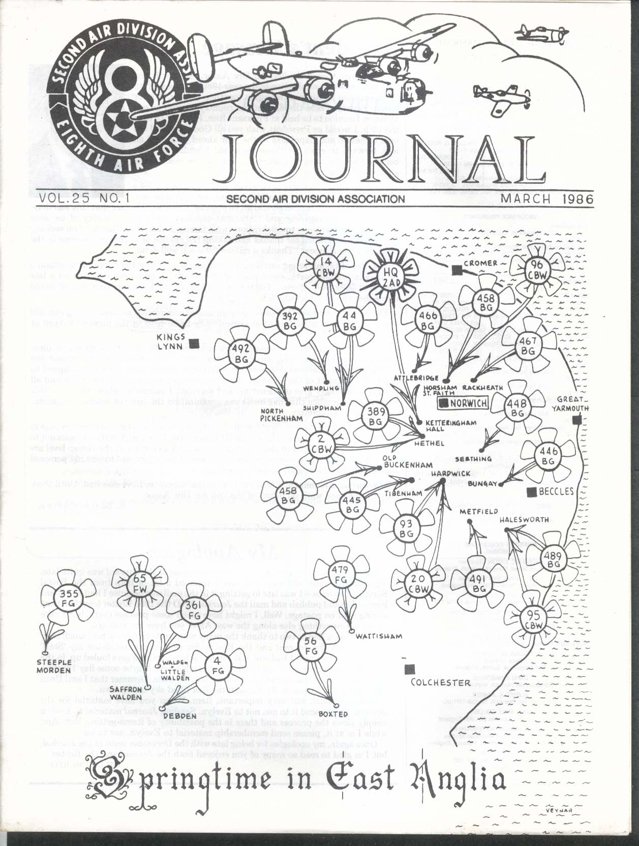 2nd Air Division Journal 8th Air Force Vol 25 #1 East Anglia 3 1986
