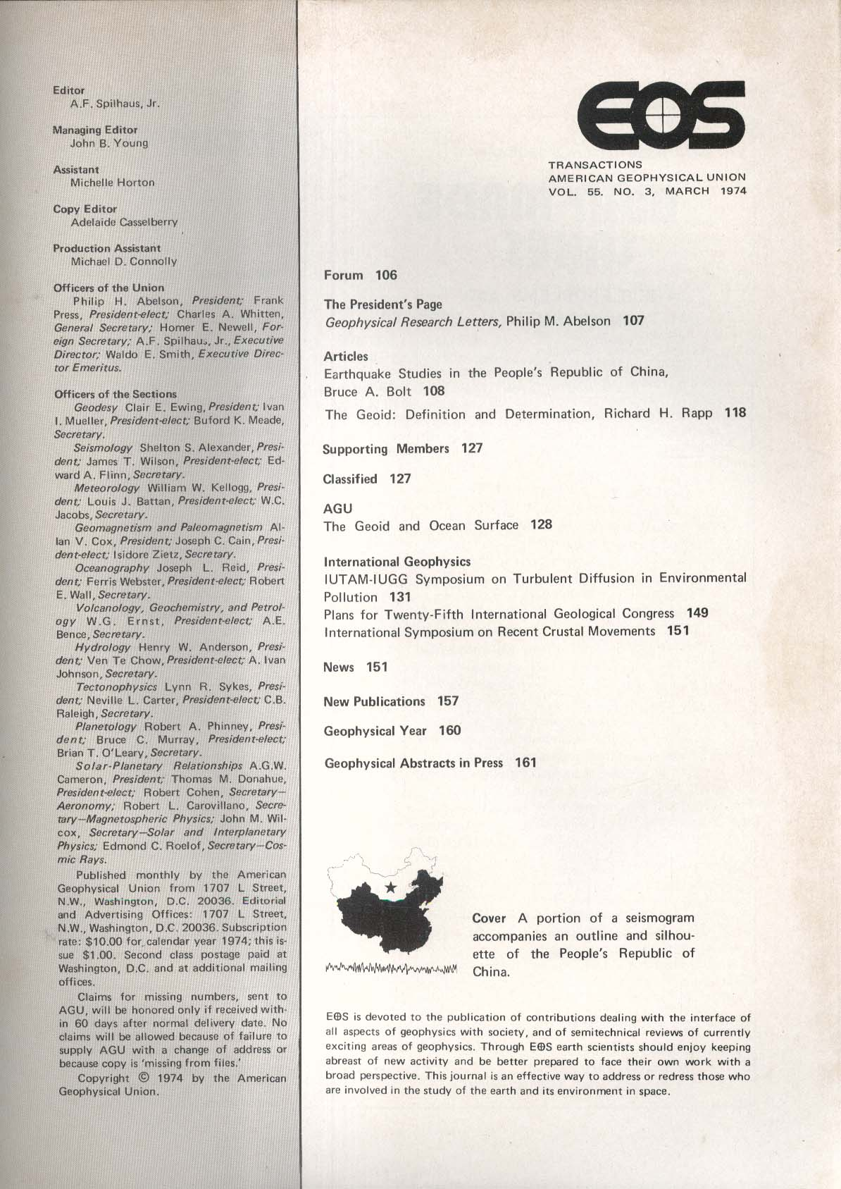 EOS Transactions American Geophysical Union 3 1974 China Earthquake Studies +