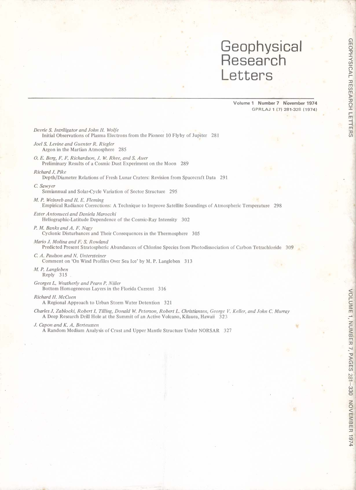 GEOPHYSICAL RESEARCH LETTERS Pioneer 10 Jupiter Martian Argon Cosmic-Ray 11 1974