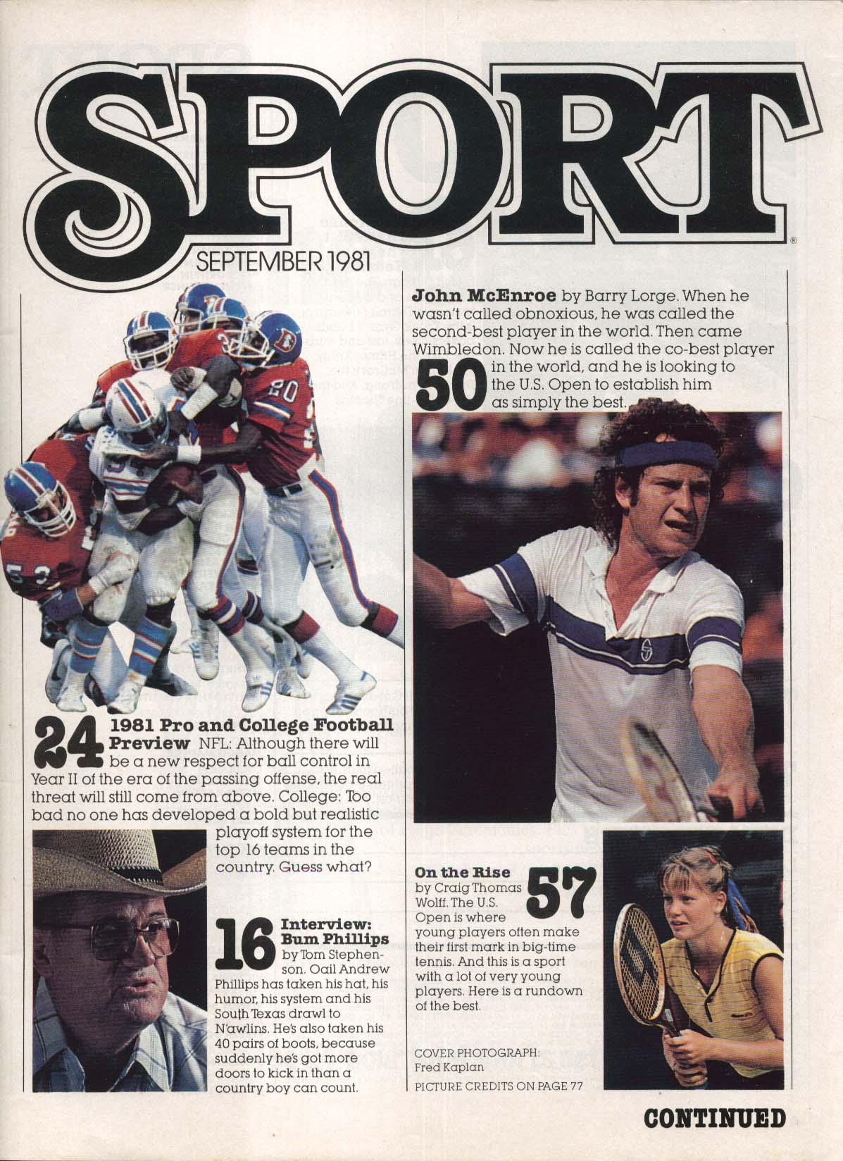 SPORT Earl Campbell Thomas Hearns John McEnroe Bum Phillips 9 1981