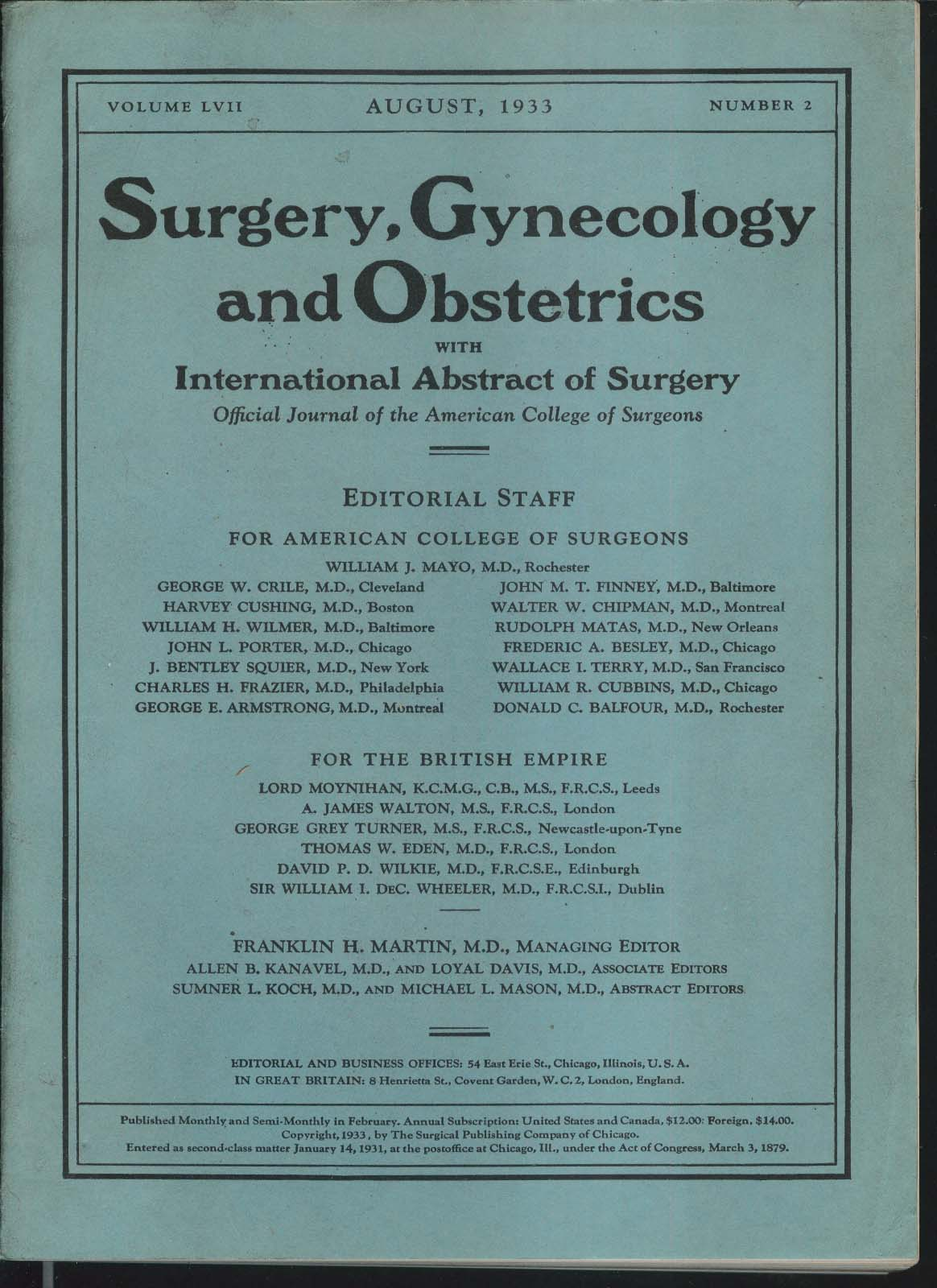 SURGERY GYNECOLOGY & OBSTETRICS William Mayo Spinal Anaesthesia ++ 8 1933
