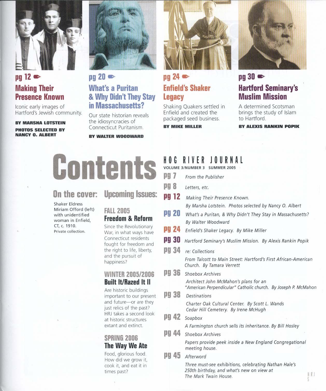 HOG RIVER JOURNAL V3 #3 Enfield Quakers Puritans Jews in Hartford + Summer 2005