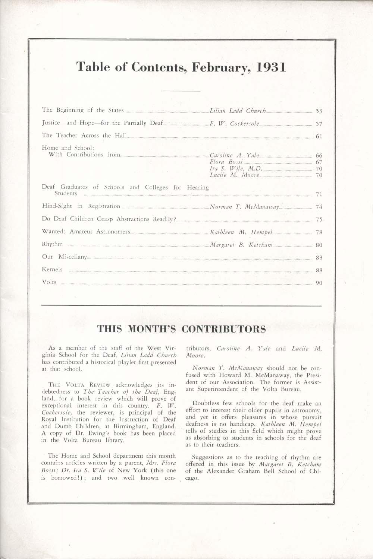 VOLTA REVIEW Willis A Sutton Alexander Graham Bell Lilian Ladd Church + 2 1931
