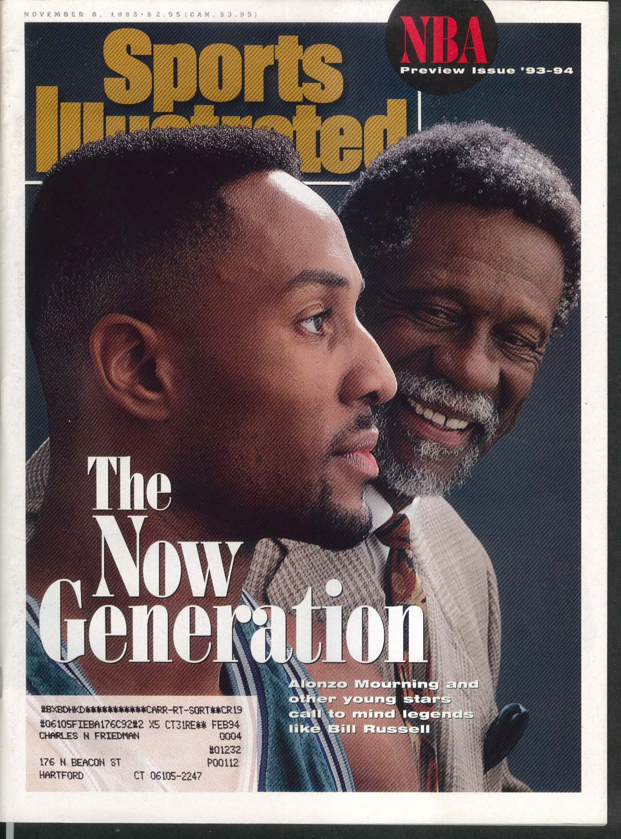 SPORTS ILLUSTRATED Alonzo Mourning Bill Russell Dennis Rodman + 11/8 1993