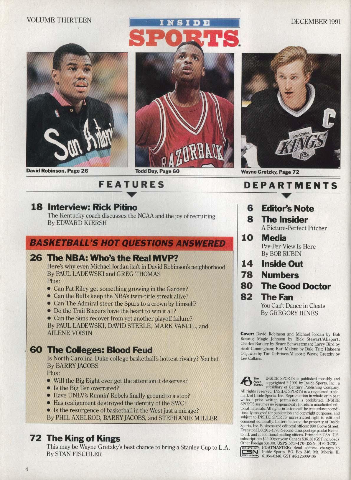 INSIDE SPORTS David Robinson Michael Jordan Magic Johnson + 12 1991
