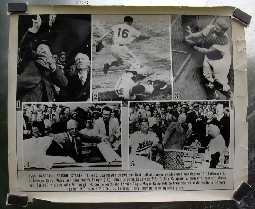 "1955 Baseball Season Starts 20x24"" newsphoto Ike Campanella Truman Connie Mack"