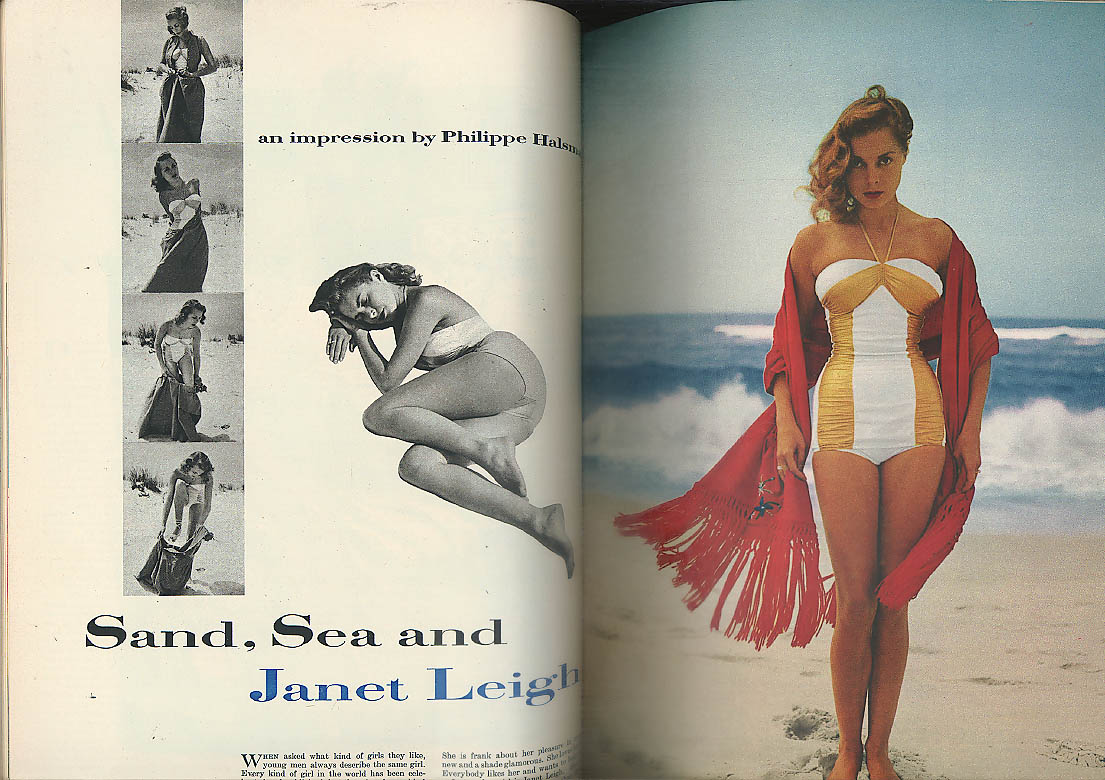 ESQUIRE Euclid Shook pin-up foldout; Charles Laughton; Janet Leigh 7 1952