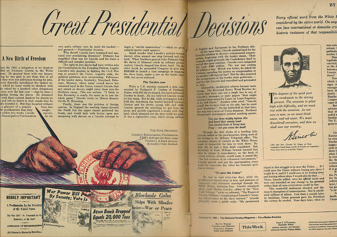 THIS WEEK Philip Wylie; Presidential Decisions S&H Green Stamp Insert 1/31 1965