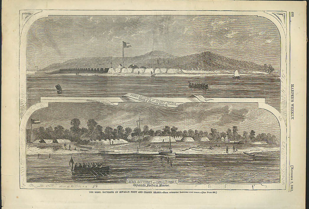 Image for Rebel Batteries at Sewall's Point & Craney Island VA Harper's Weekly page 1861