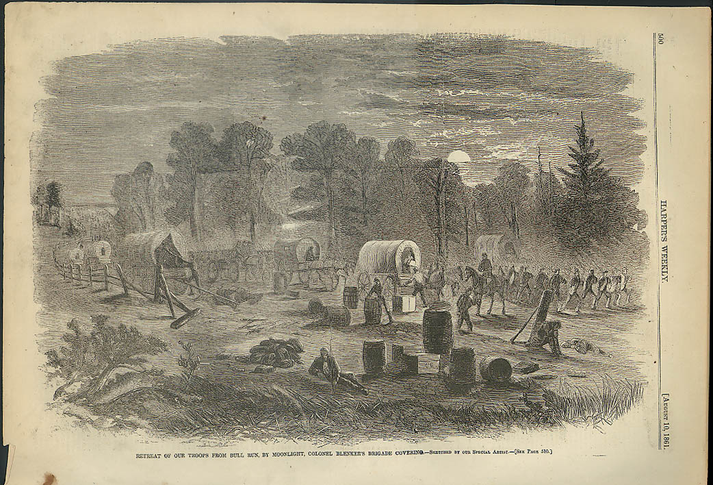 Image for Col Blinker's Brigade covers Union Bull Run Retreat Harper's Weekly page 1861