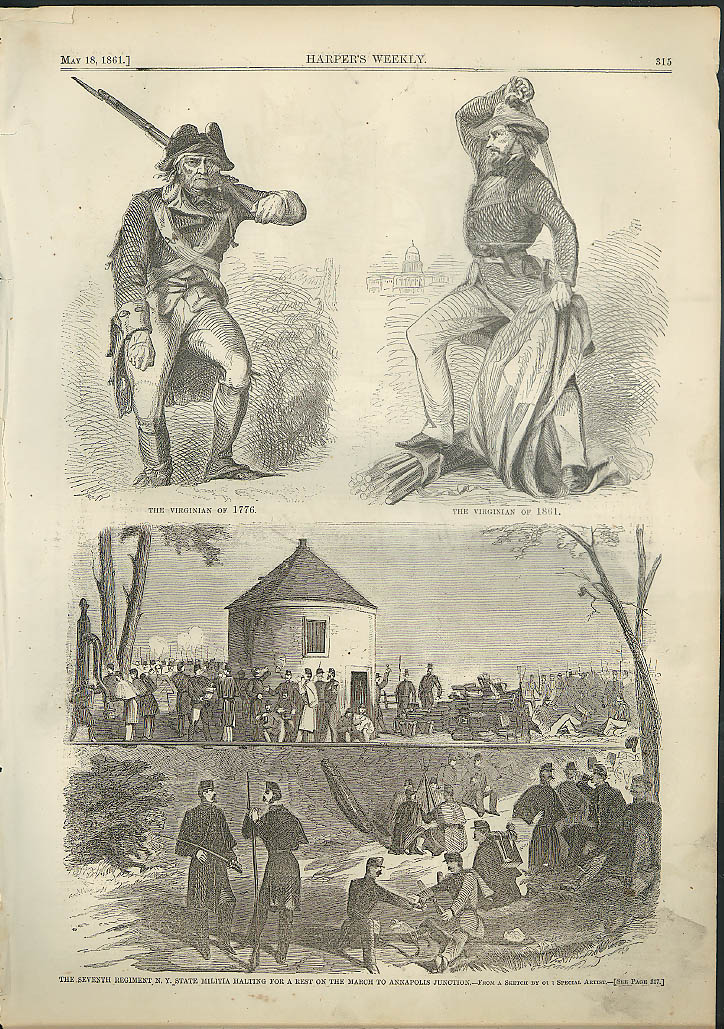 Image for Camp Denison PA McCook HQ / 7th NY Annapolis Junction Harper's Weekly page 1861