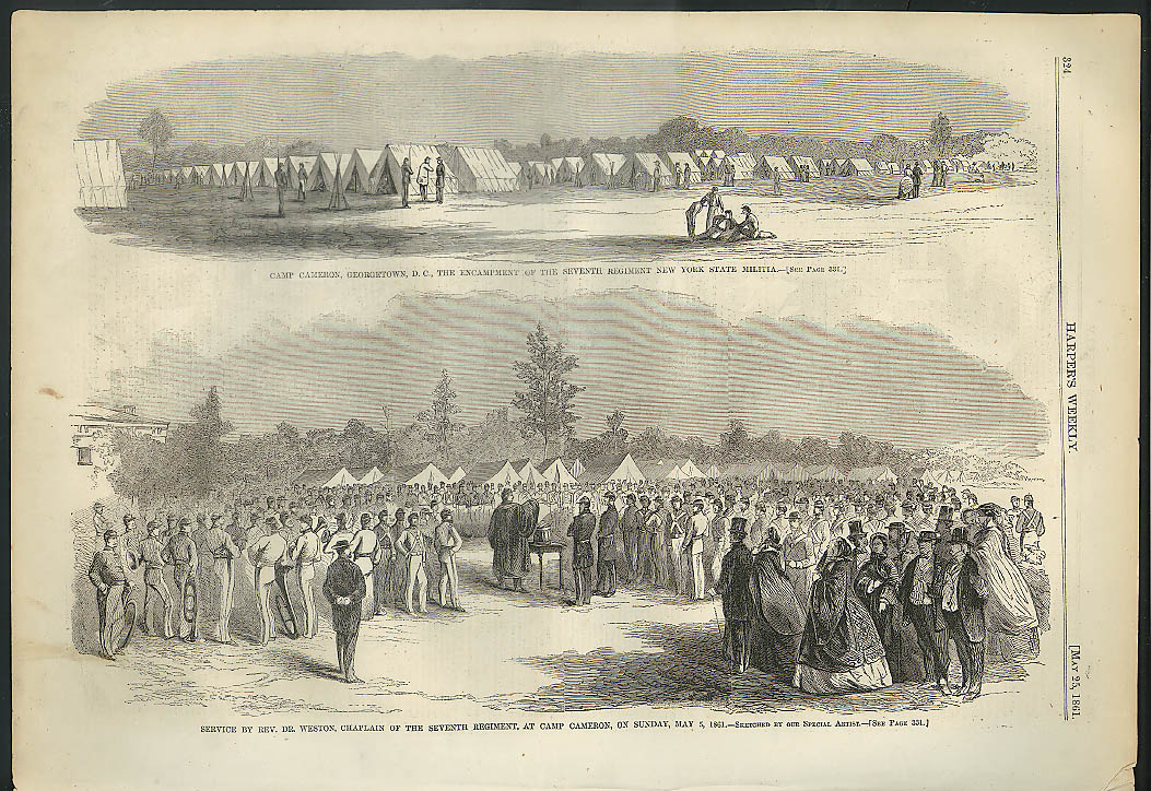 Image for 7th NY Regiment Encampment Camp Cameron Georgetown DC Harper's Weekly page 1861