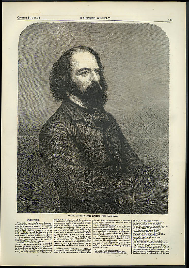 Alfred Tennyson English Poet Laureat Harper's Weekly page 10/14 1865