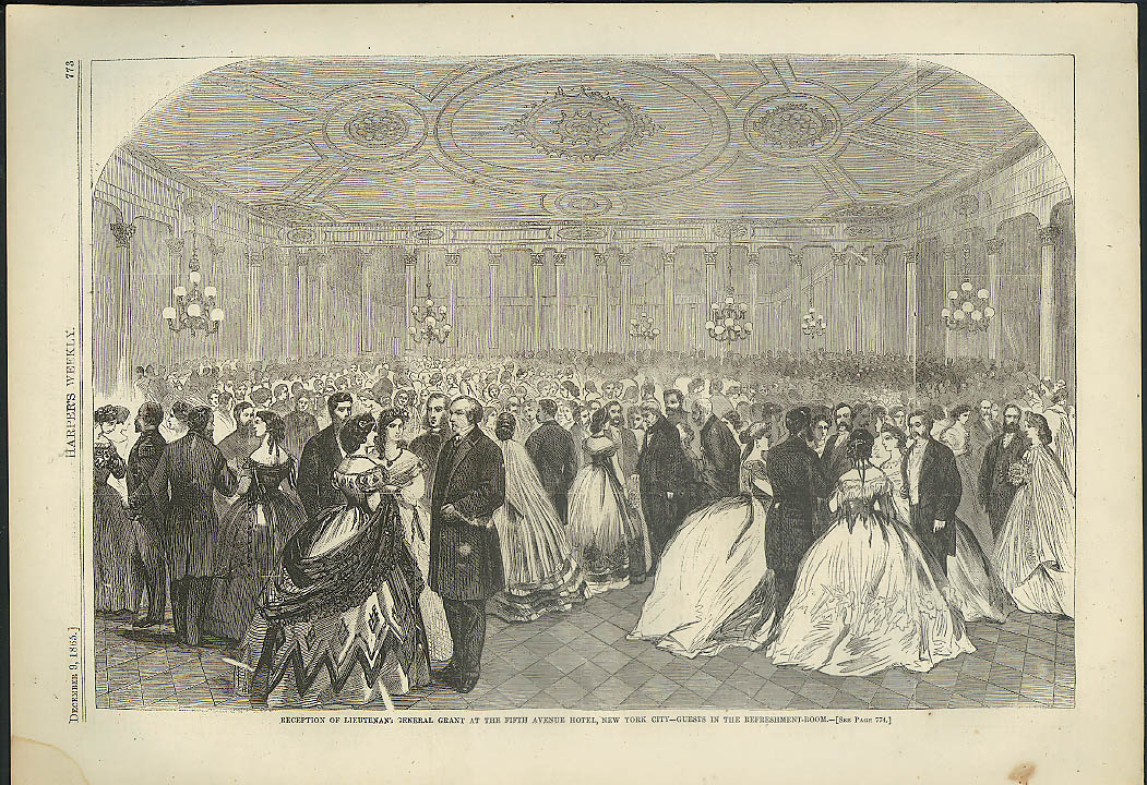 Image for Guests at Lt-Gen U S Grant Reception 5th Ave Hotel NYC Harper's Weekly page 1865