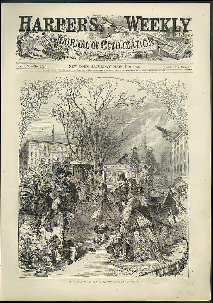 Image for April Fool's Day in New York opposite Astor House Harper's Weekly cover 1861