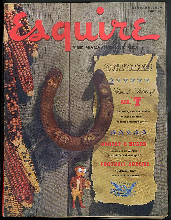Image for ESQUIRE Al Moore pin-up; Ruark; Corinne Calvet; USS Squalus; OK football 10 1950