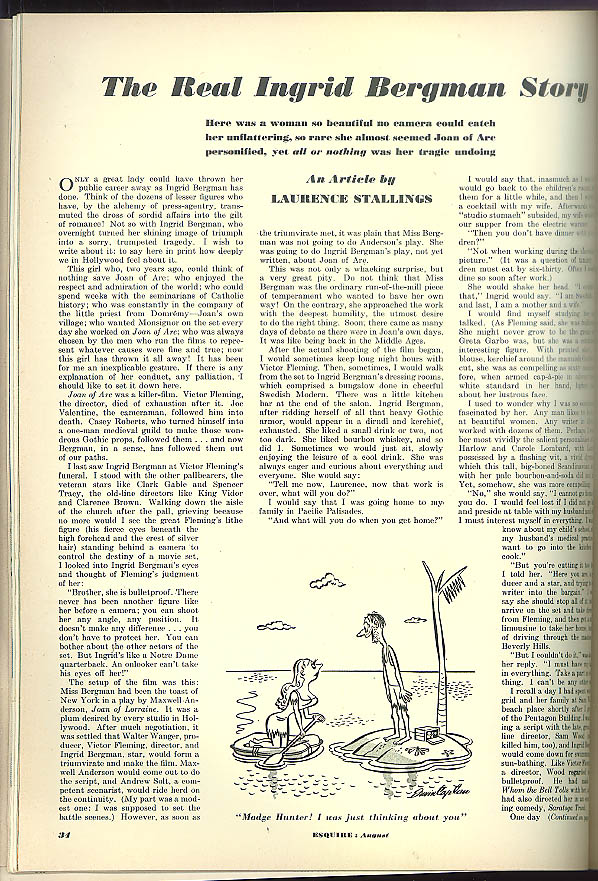 Image for ESQUIRE Al Moore pin-up; Davy Crockett; Ingrid Bergman; Jeanmarie page 8 1950