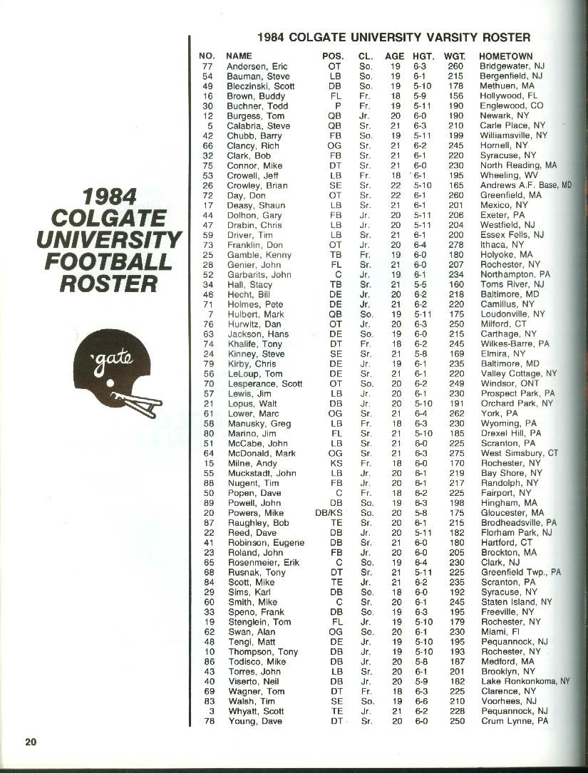 'Gate Illustrated: Colgate vs Holy Cross College Football Program 10/13 1984