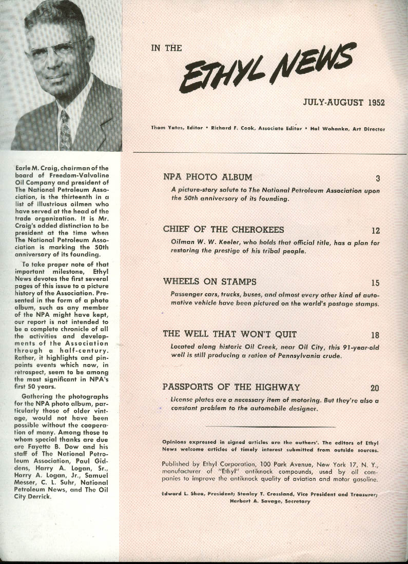 ETHYL NEWS Cherokee; License Plates; McClintock Well #1; Soapbox Derby 7-8 1952