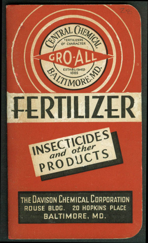 Central Chemical Gro-All Fertilizer Davison Chemical pocket memorandum 1937