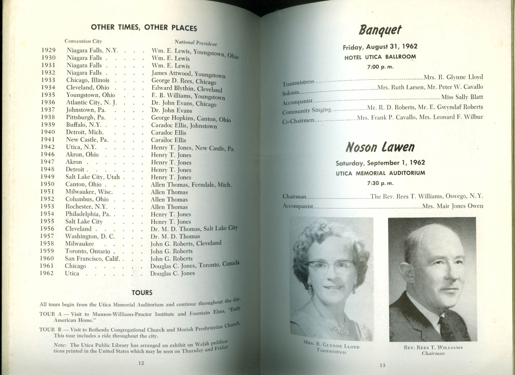 Annual Welsh-American Day Utica NY program 1962 Noson Lawen Gymanfa Ganu