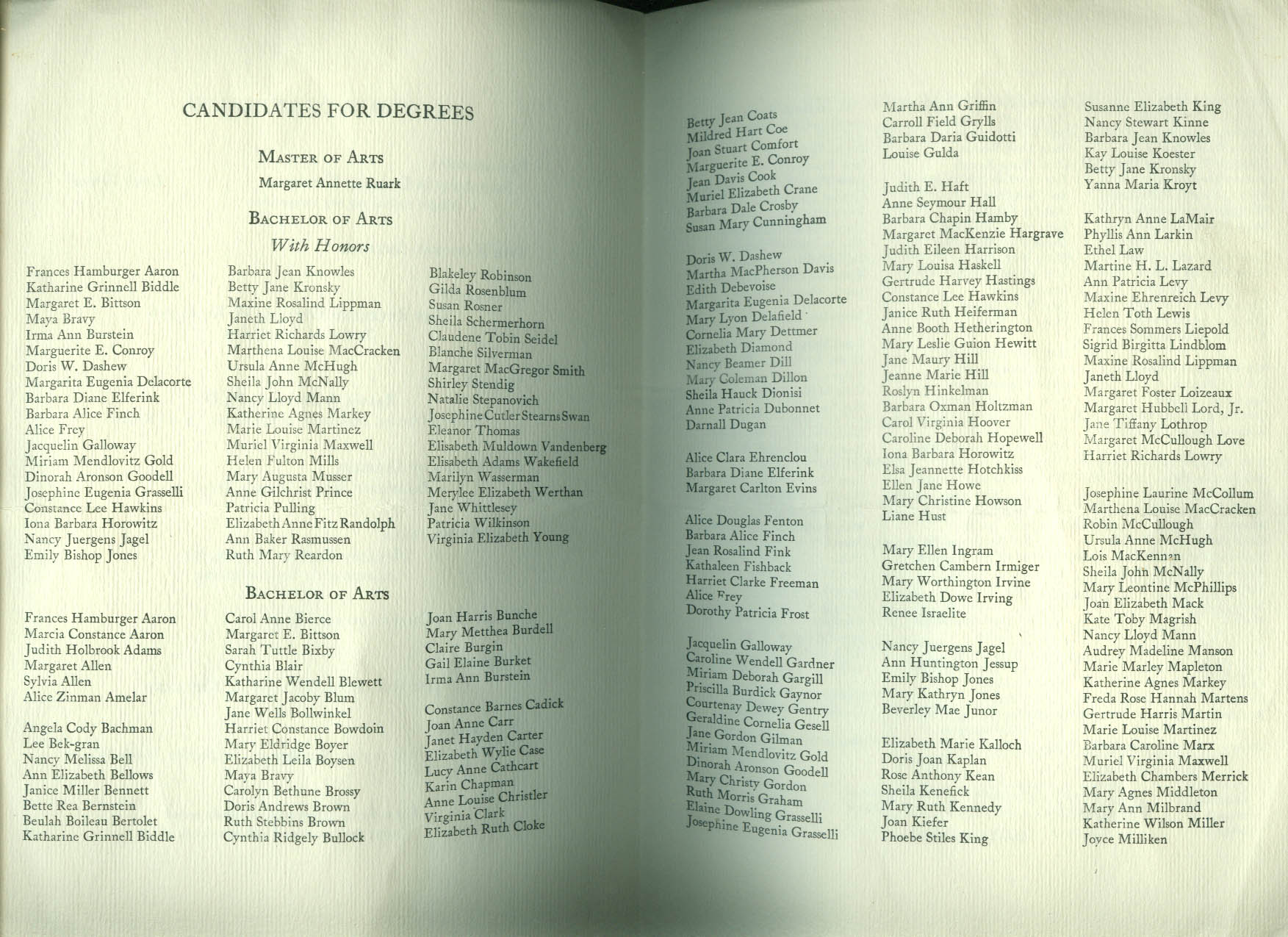 Vassar College Commencement Program 1953