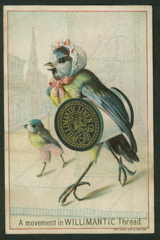 A Movement in Willimantic Thread trade card 1880s Bluebird in bonnet & spool
