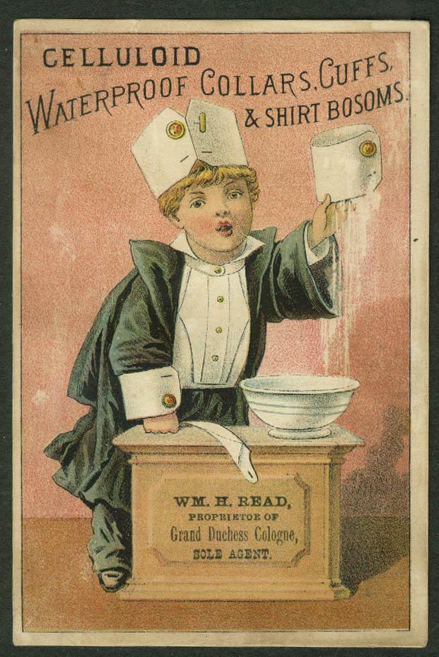 Celluloid Collars Cuffs & Shirt Bosoms trade card 1880s Wm H Read Baltimore