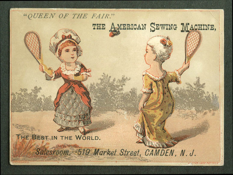 American Sewing Machine Camden NJ trade card 1880s girls play badminton