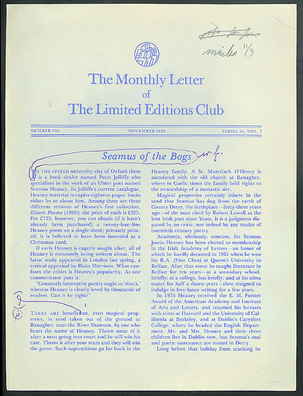 Limited Editions Club Newsletter #530 blueline proof w/ editor's notes 11 1982
