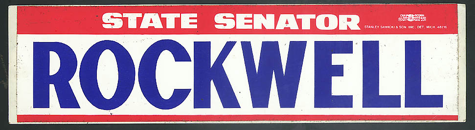 Rockwell for State Senator unused bumpersticker 1960s >