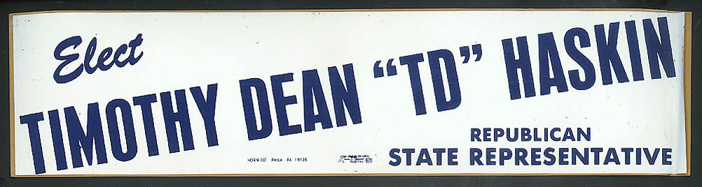 Elect Timothy Dean TD Haskin Republican State Rep bumpersticker 1960s >