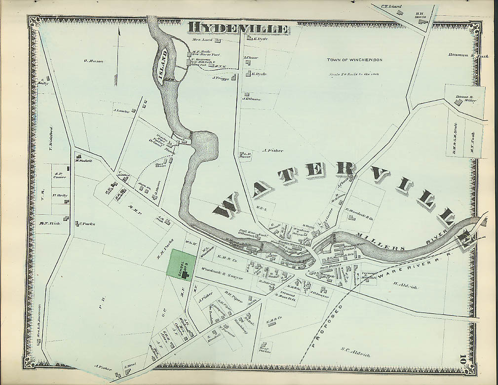 Image for F W Beers hand-colored 1870 Map of Waterville & Hydeville MA