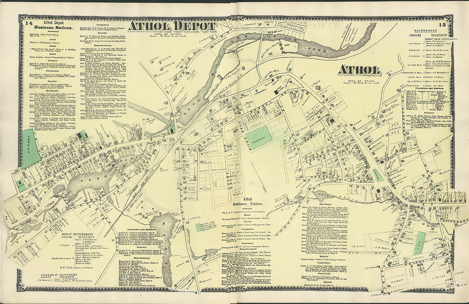 Image for F W Beers hand-colored 1870 Map of Town of Winchendon center of town
