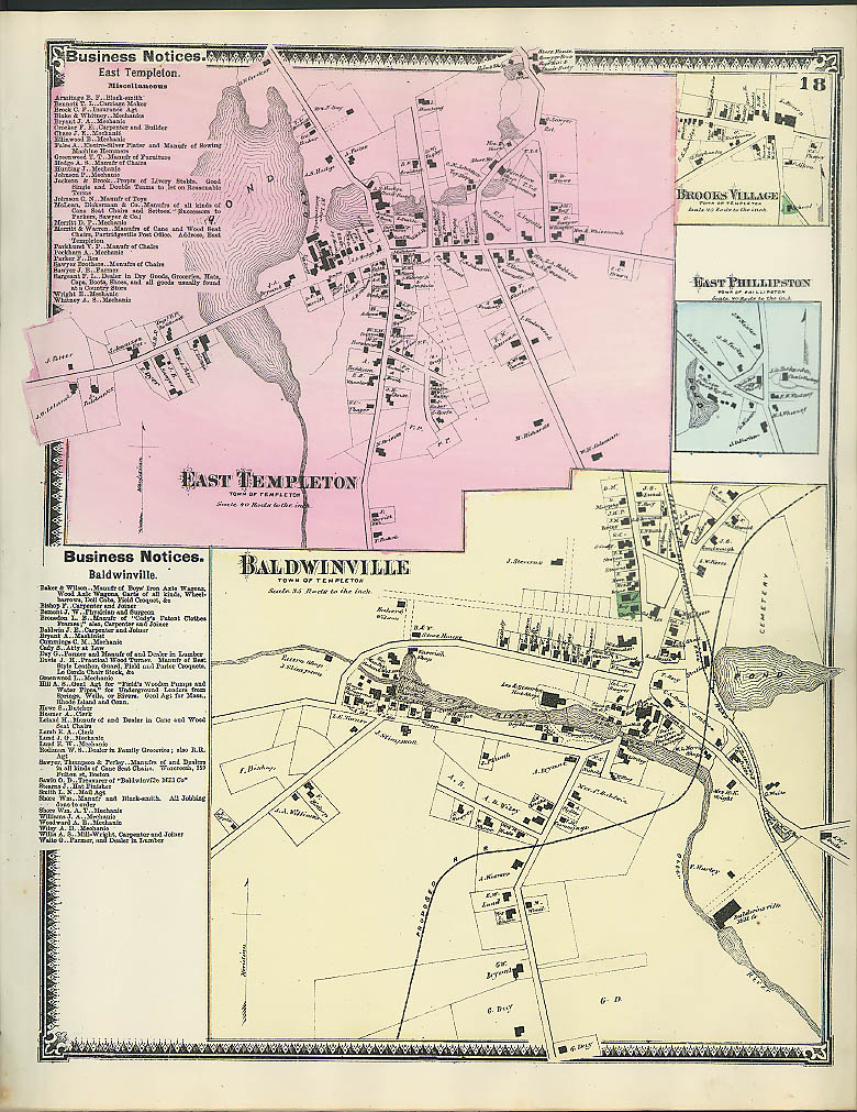 F W Beers hand-colored 1870 Map of Baldwinville East Templeton Brooks Village MA