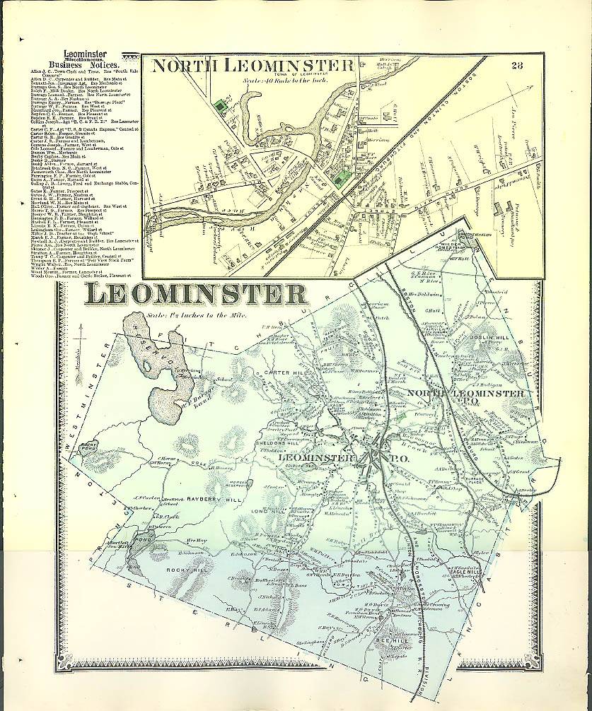 Image for F W Beers hand-colored 1870 Map of Leominster & North Leominster MA
