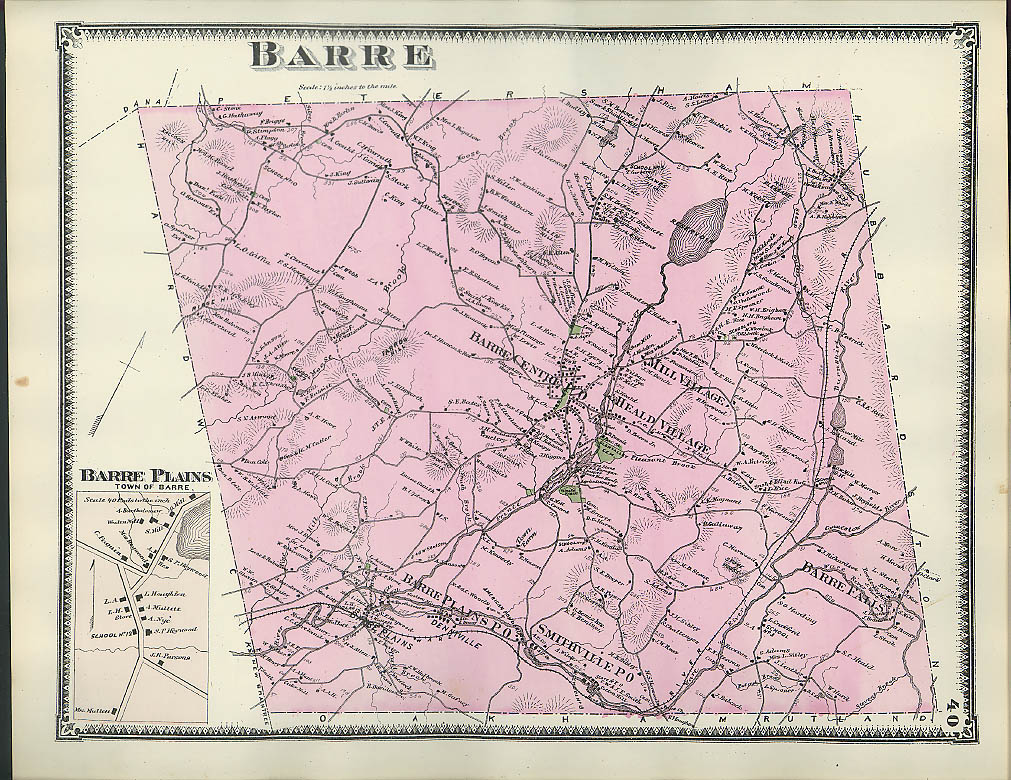 Image for F W Beers hand-colored 1870 Map of Barre Barre Plains Heald & Mill Villaga MA