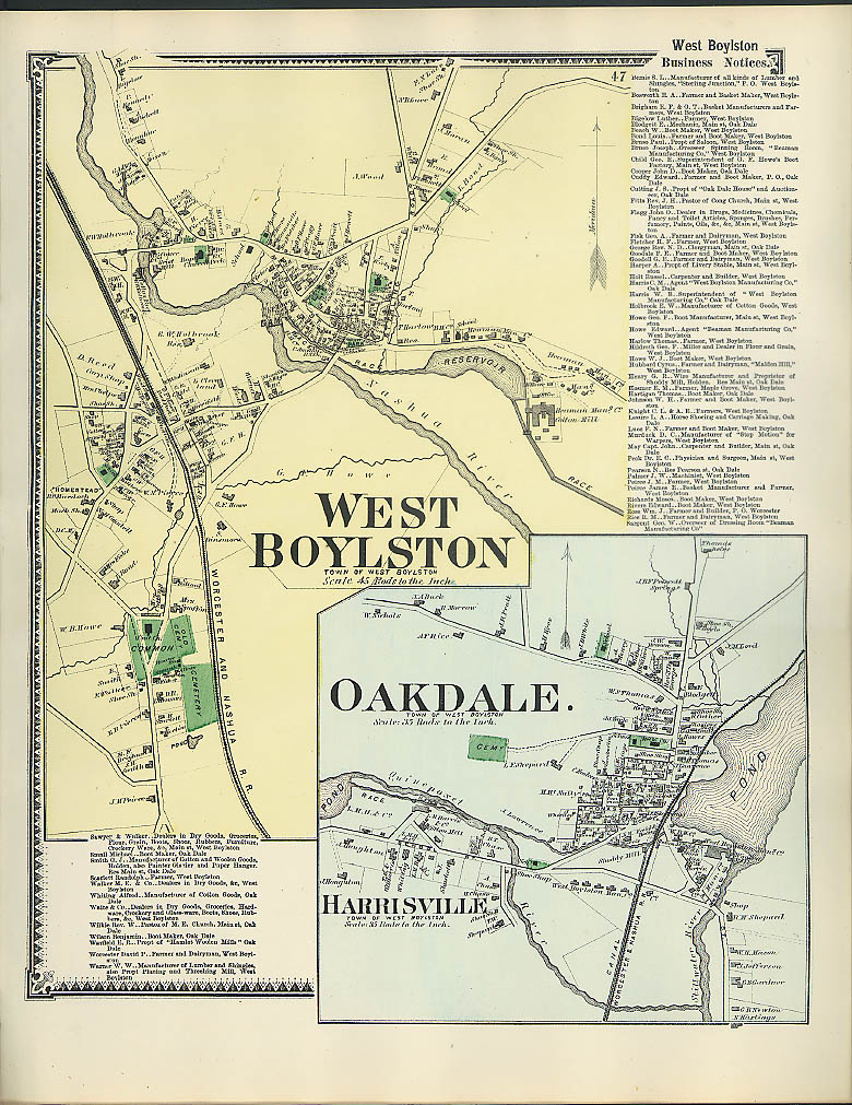 Image for F W Beers hand-colored 1870 Map of West Boylston & Oakdale & Harrisville MA