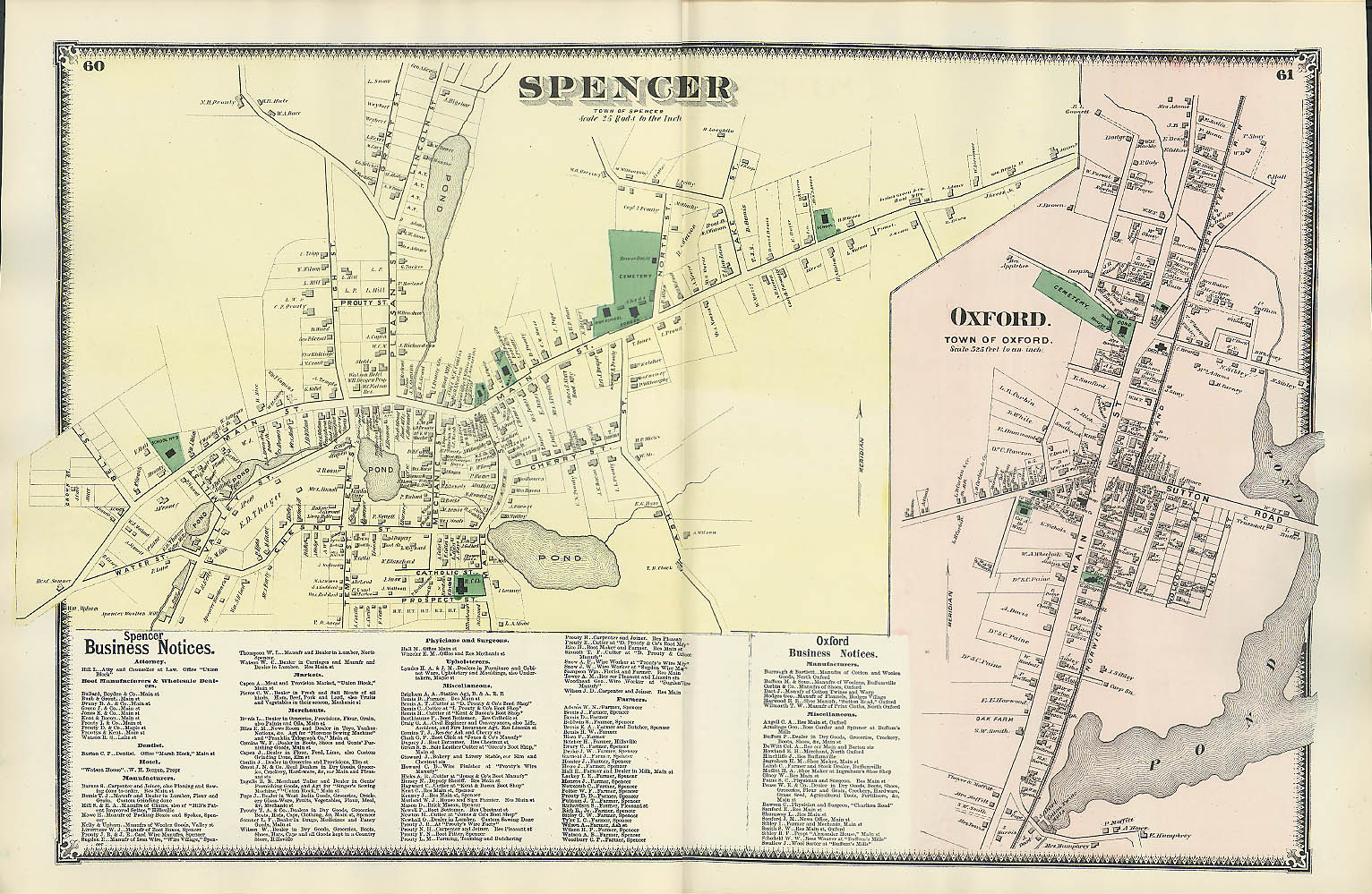 Image for F W Beers hand-colored 1870 Map of Spencer & Oxford MA double-wide