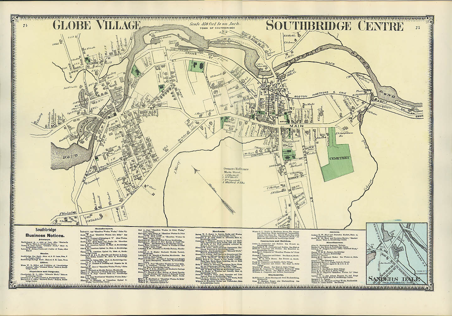 F W Beers hand-colored 1870 Map Globe Village Southbridge Centre Sanders Dale MA