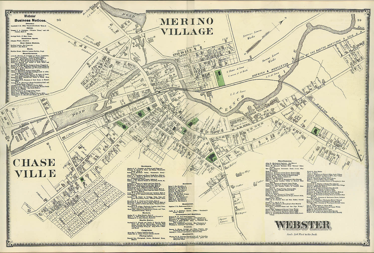 F W Beers hand-colored 1870 Map of Webster Merino Village & Chaseville MA