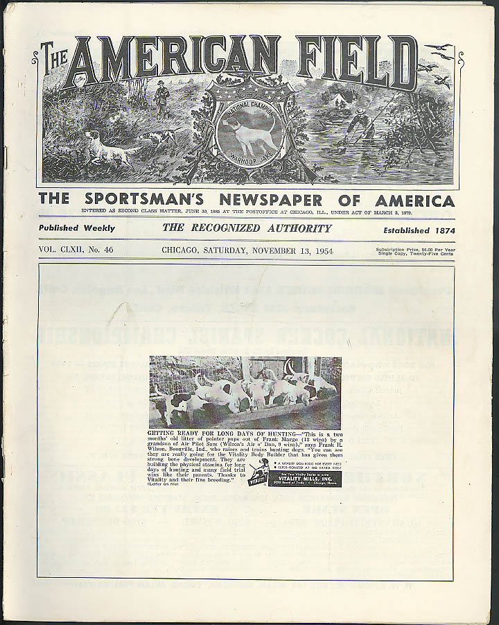 AMERICAN FIELD Dog Field Trials Weekly: 11/13 1954: AFT Futurity; GN Grouse