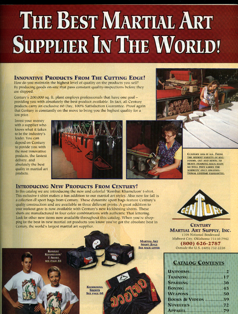 Century Martial Art Supply Catalog Fall 1994 featuring Chuck Norris