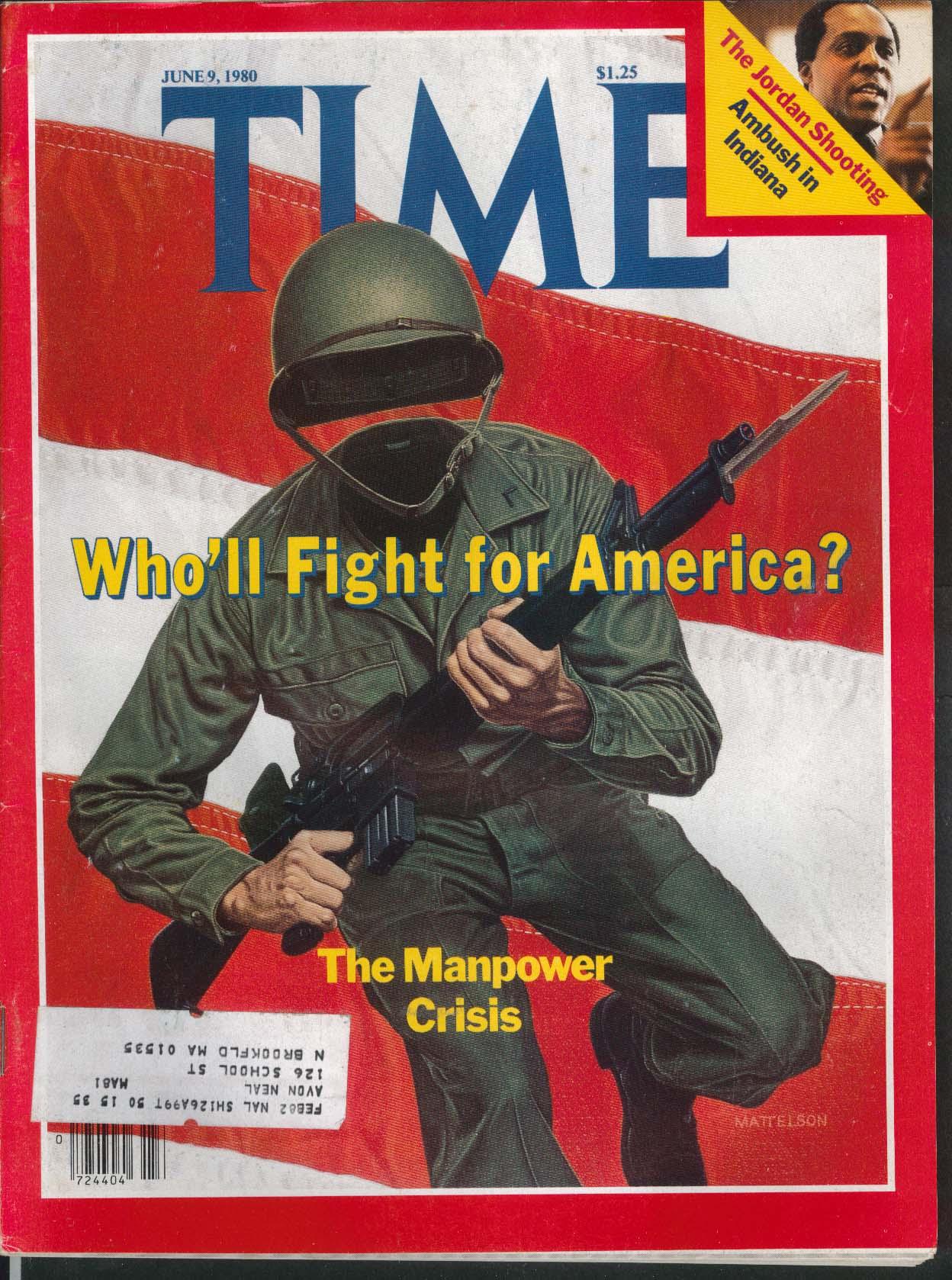 TIME US Army Manpower Crisis Vernon Jordan Indiana Shooting Israel 6/9 1980