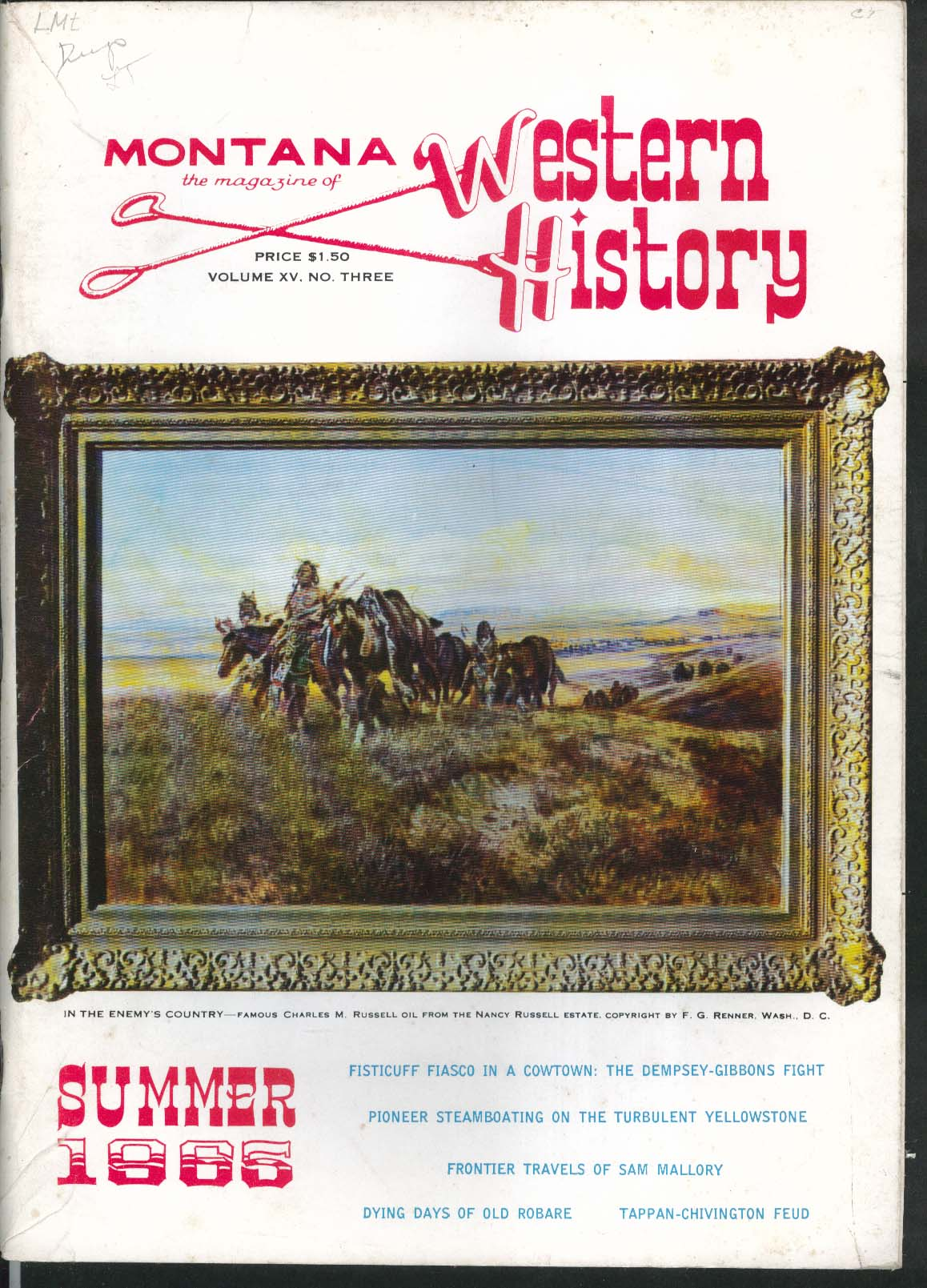MONTANA WESTERN HISTORY Dempsey-Gibbons Fight Yellowstone Steamboats Summer 1965