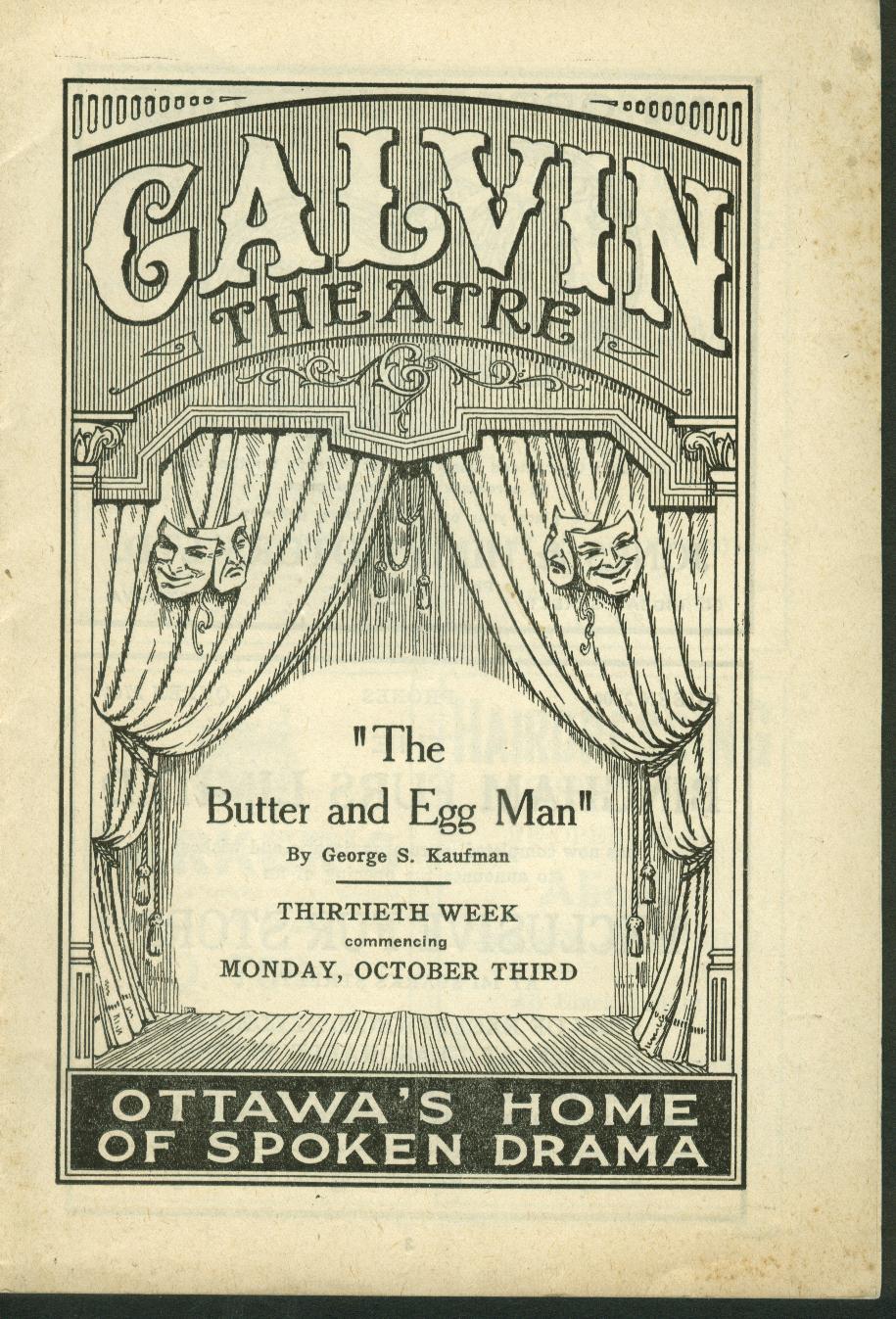 Galvin Theatre program Butter & Egg Man 1910s  Ottawa ON