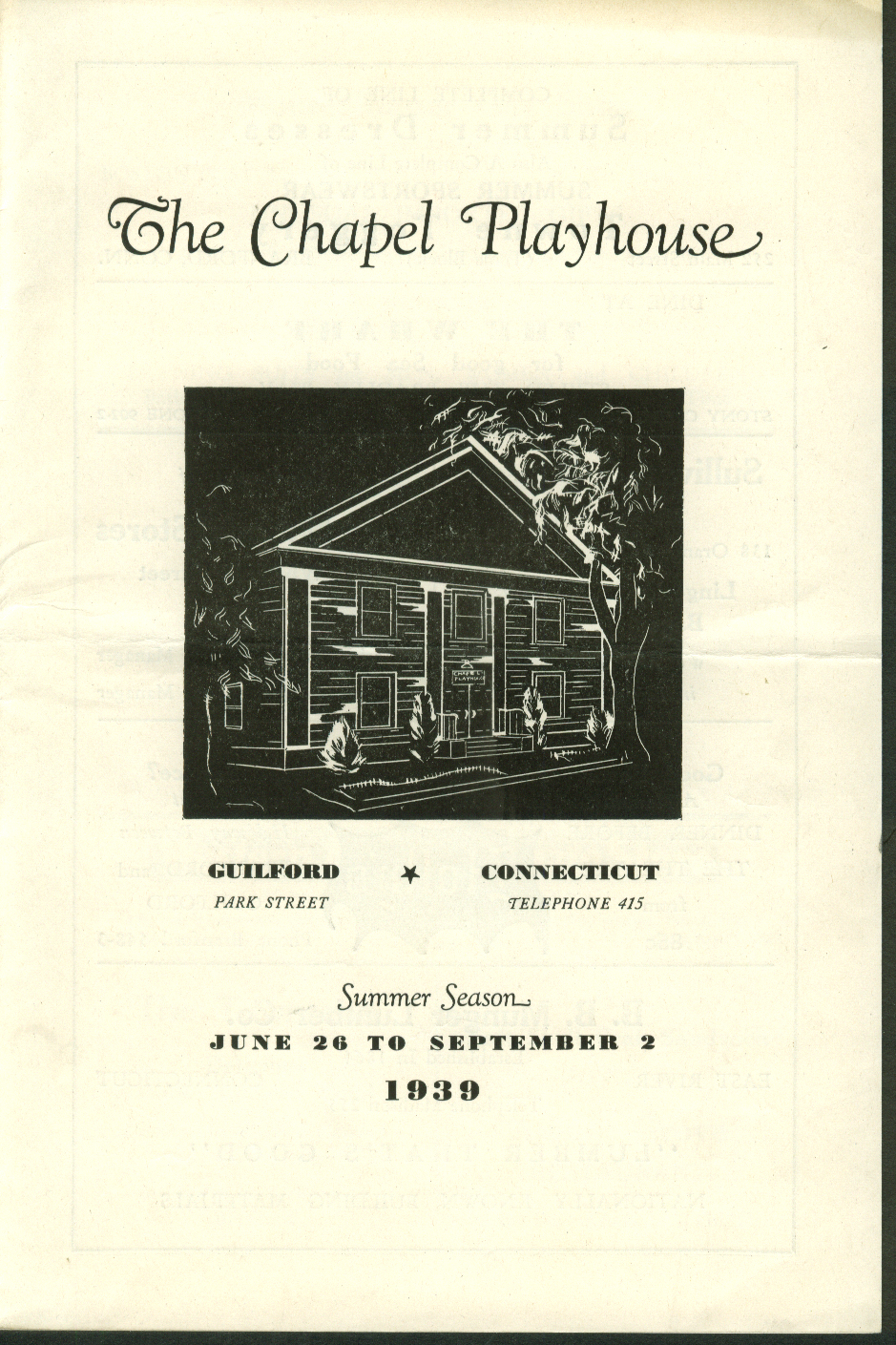 Chapel Playhouse Summer 1939 Program Elissa Landi Tovarich