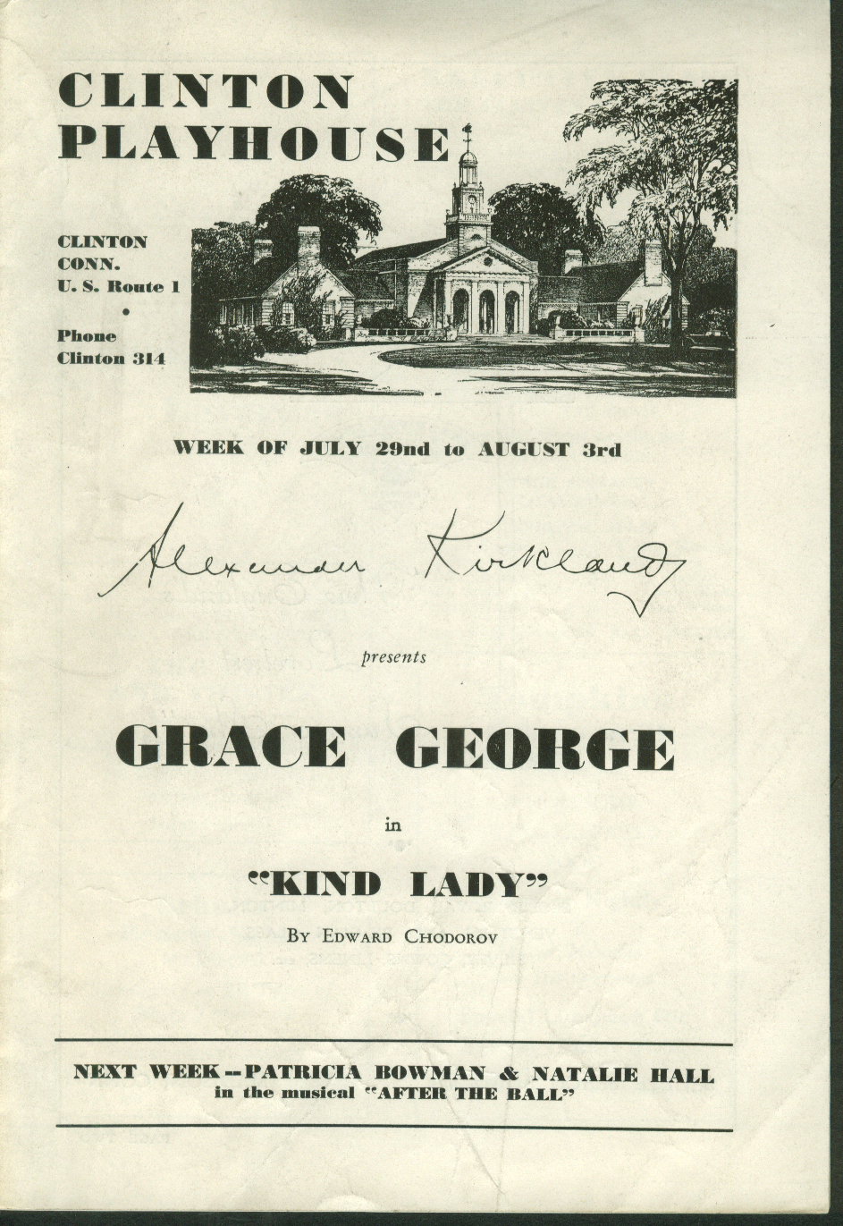 Clinton Playhouse Grace George Kind Lady program 1940s