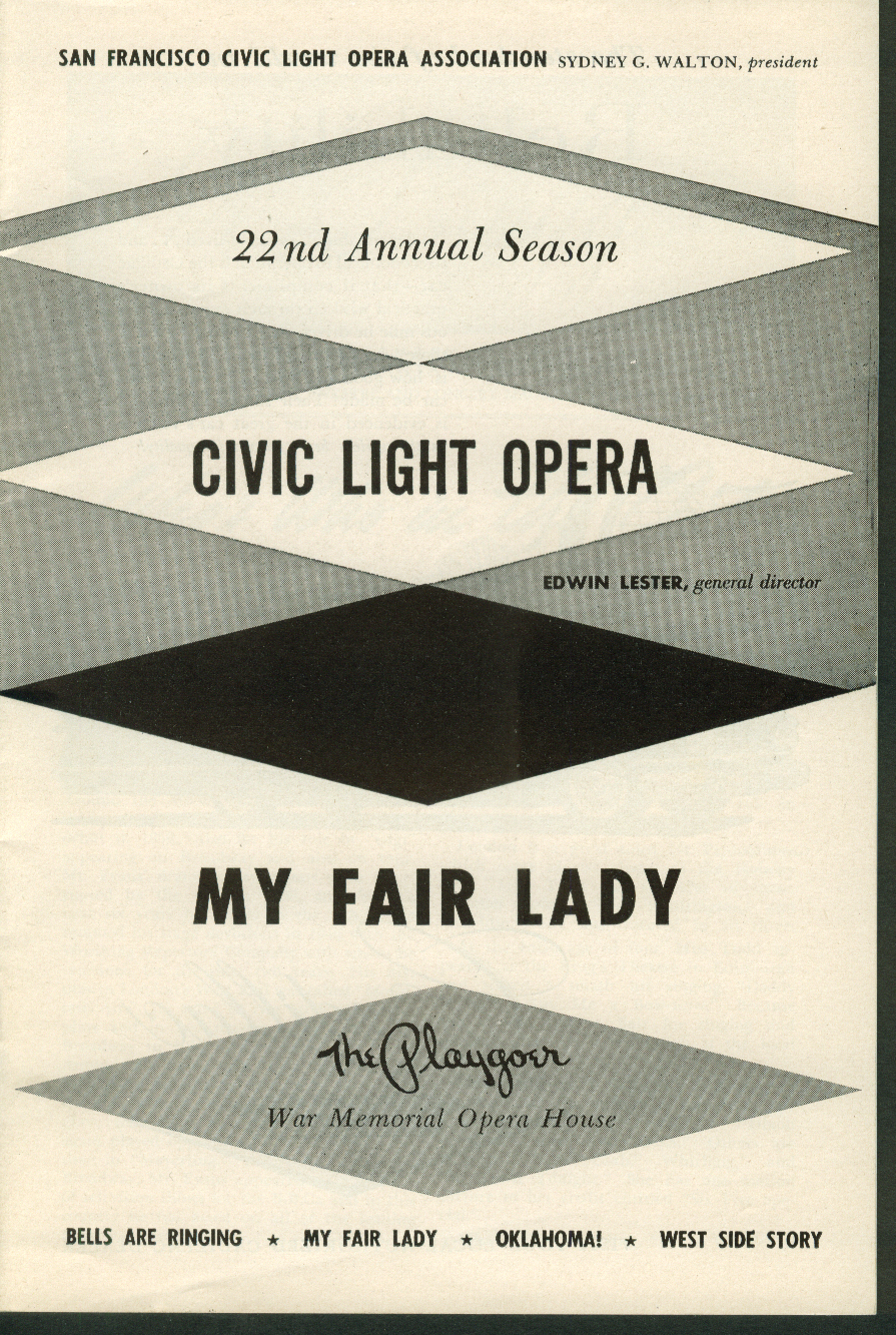 Civic Light Opera My Fair Lady program Michael Evans Diane Todd 1959